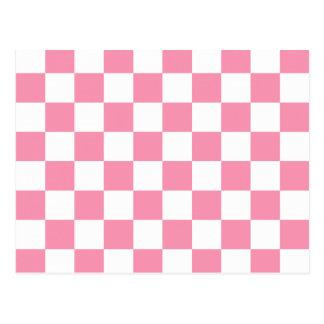 Pink white checkerboard pattern postcard