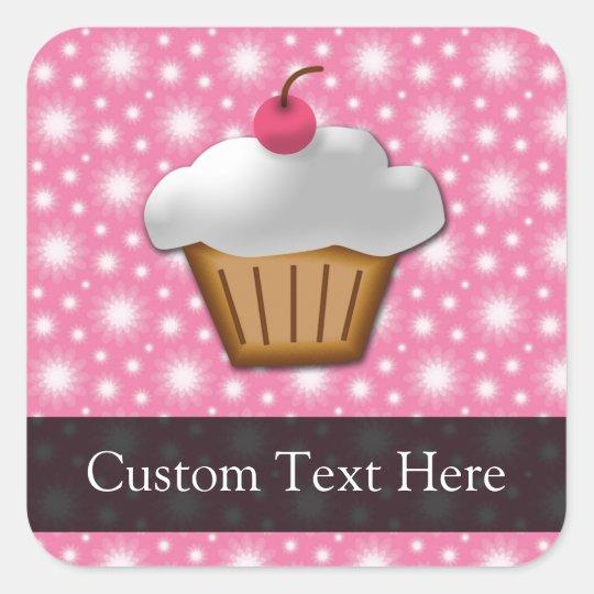 Pink/White Cherry Cupcake Square Sticker