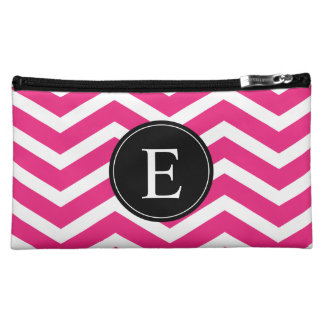 Pink White Chevron Black Monogram Cosmetic Bags