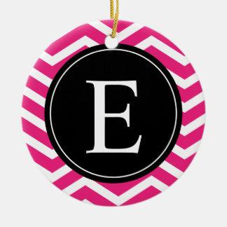 Pink White Chevron Black Monogram Ceramic Ornament