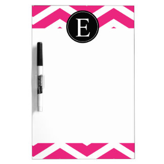 Pink White Chevron Black Monogram Dry-Erase Board