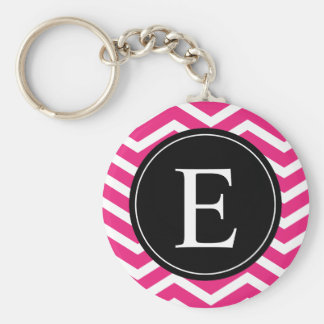 Pink White Chevron Black Monogram Keychains