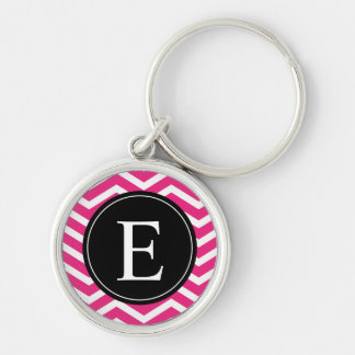 Pink White Chevron Black Monogram Keychain