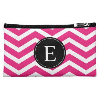 Pink White Chevron Black Monogram Makeup Bag
