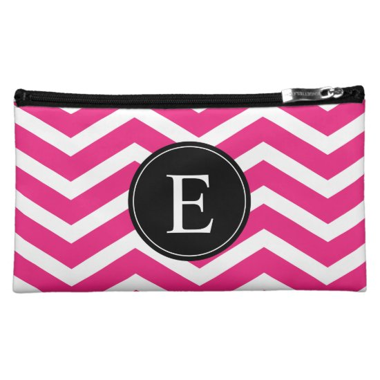 Pink White Chevron Black Monogram Makeup Bag