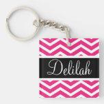 Pink White Chevron Black Name Acrylic Keychains
