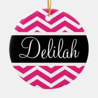 Pink White Chevron Black Name Ceramic Ornament