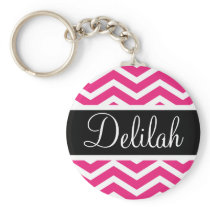 Pink White Chevron Black Name Keychain