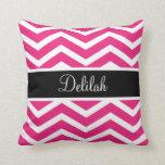 Pink White Chevron Black Name Pillow
