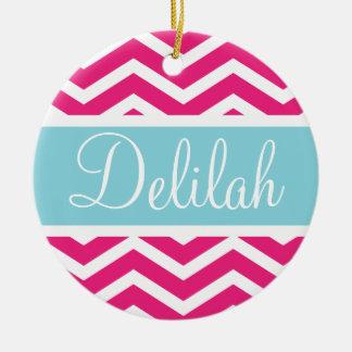 Pink White Chevron Blue Custom Name Ceramic Ornament