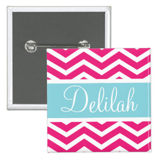 Pink White Chevron Blue Custom Name Pinback Button