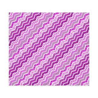 Pink White Chevron Geometric Designs Color Canvas Print