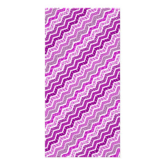 Pink White Chevron Geometric Designs Color Custom Photo Card