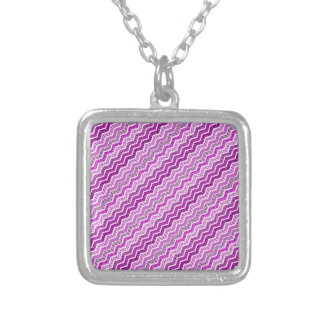 Pink White Chevron Geometric Designs Color Square Pendant Necklace