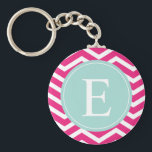 "Pink White Chevron Mint Teal Monogram Keychain<br><div class=""desc"">Customise this vibrant pink and white chevron pattern and pastel turquoise monogram design with your initial.</div>"