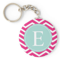 Pink White Chevron Mint Teal Monogram Keychain