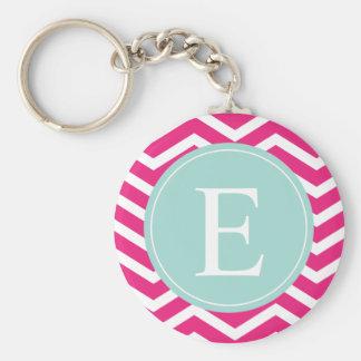 Pink White Chevron Mint Teal Monogram Keychain