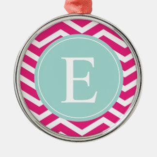 Pink White Chevron Mint Teal Monogram Metal Ornament