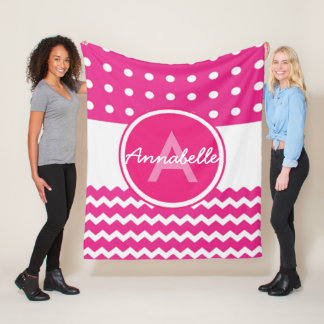 Pink White Chevron Monogram Personalized Fleece Blanket