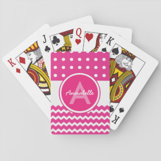 Pink White Chevron Monogram Personalized Playing Cards at Zazzle