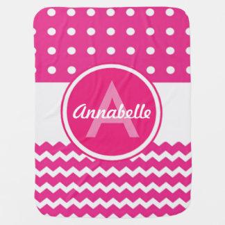 Pink White Chevron Monogram Personalized Swaddle Blanket