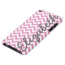 Pink White Chevron Pattern Case-Mate iPod Touch Case