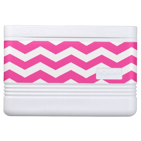 Pink & White Chevron Pattern Igloo Cooler