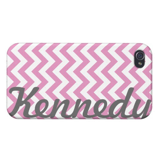Pink White Chevron Pattern iPhone 4/4S Cases