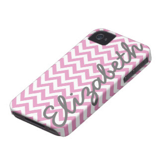Pink White Chevron Pattern iPhone 4 Case-Mate Case