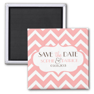Pink & White Chevron Pattern Save the Date Magnet