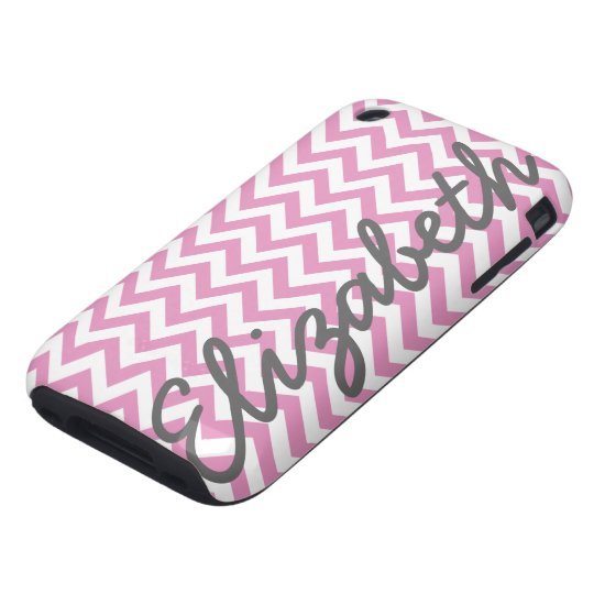 Pink White Chevron Pattern Tough iPhone 3 Cover