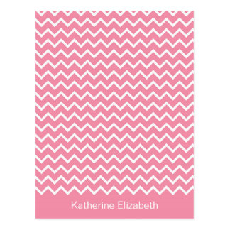 Pink & White Chevron Personalized Flat Note Card