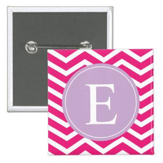 Pink White Chevron Purple Monogram Button