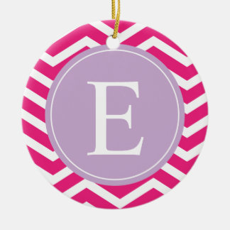 Pink White Chevron Purple Monogram Ceramic Ornament