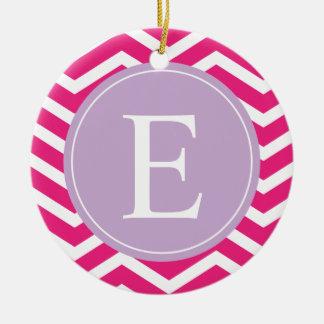 Pink White Chevron Purple Monogram Ceramic Ornament