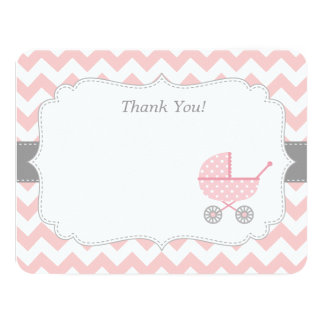 Pink White Chevron Stroller Thank You Note Cards Announcements