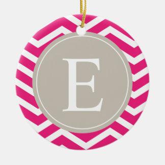 Pink White Chevron Tan Monogram Ceramic Ornament