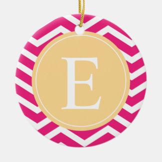 Pink White Chevron Yellow Monogram Ceramic Ornament