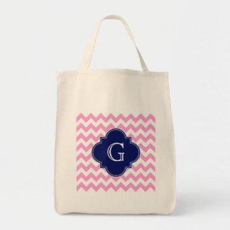 Pink White Chevron Zigzag Navy Quatrefoil Monogram Tote Bag