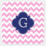 Pink White Chevron Zigzag Navy Quatrefoil Monogram Square Stickers