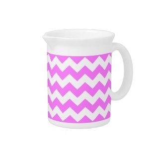 Pink White Chevron Zigzag Stripe Pattern Beverage Pitcher