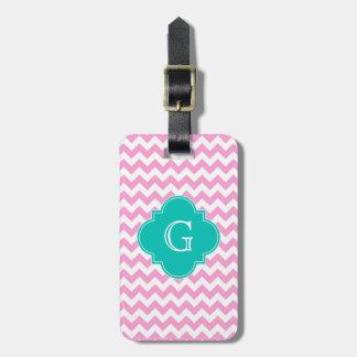 Pink White Chevron Zigzag Teal Quatrefoil Monogram Bag Tag