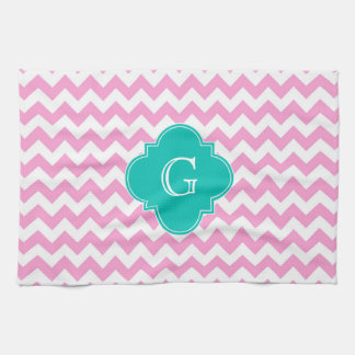Pink White Chevron Zigzag Teal Quatrefoil Monogram Kitchen Towel