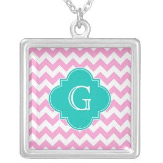 Pink White Chevron Zigzag Teal Quatrefoil Monogram Square Pendant Necklace