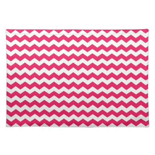 Pink white chevrons cloth placemat
