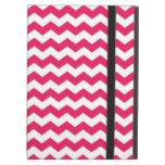 Pink white chevrons iPad folio cases