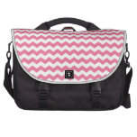 Pink white chevrons laptop commuter bag