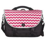 Pink white chevrons laptop messenger bag