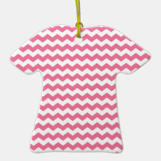 Pink white chevrons Double-Sided T-Shirt ceramic christmas ornament