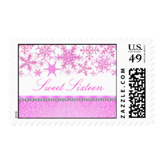 Pink & White Chic Snowflake Sweet16 Stamp